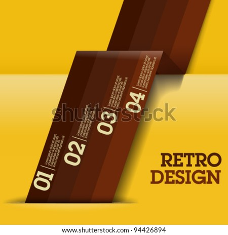 Retro Design template - brown and yellow cutout lines / graphic or website layout vector - Suitable for infographics - stock vector
