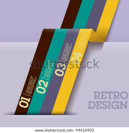 Retro Design template - colorful cutout lines / graphic or website layout vector - Suitable for infographics - stock vector