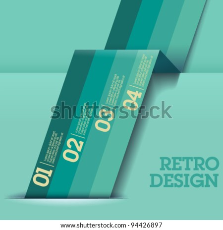 Retro Design template - greenish blue cutout lines / graphic or website layout vector - Suitable for infographics - stock vector