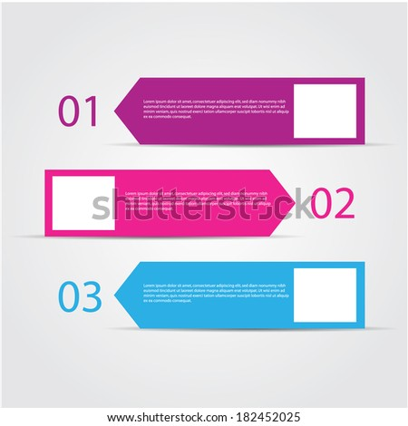 retro design template / numbered banners. - stock vector