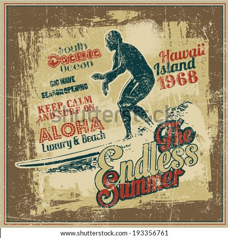 "Retro design ""The Endless Summer"" with surfer, big wave and vintage fonts. vector illustration. grunge effect in separate layer.  - stock vector"