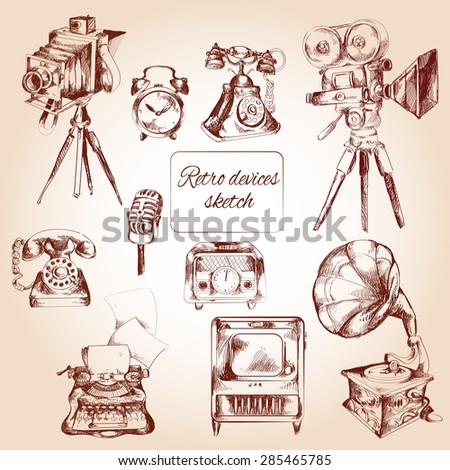 Retro devices decorative icons sketch set with film camera telephone typing machine isolated vector illustration - stock vector