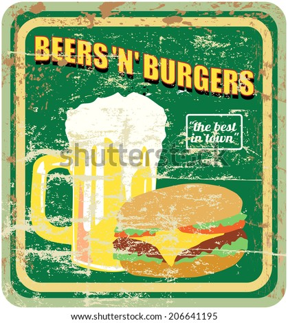 retro diner sign, burgers and beer, vector illustration - stock vector