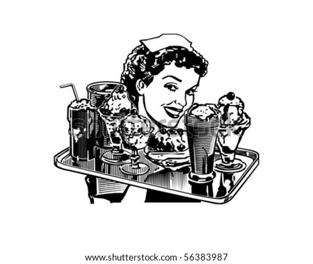 Retro Diner Waitress - Retro Clip Art - stock vector
