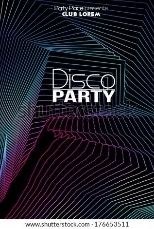 Retro Disco Party Flyer Template - Vector Illustration - stock vector