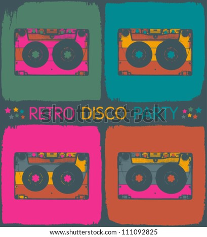 Retro disco party invitation in pop-art style. Vector, EPS8 - stock vector