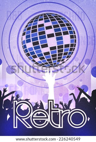 Retro Disco Party Poster Background Template - Vector Illustration - stock vector