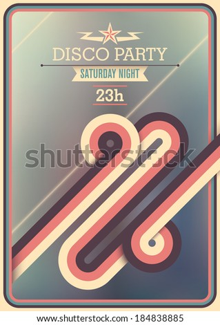 Retro disco party poster with abstraction. Vector illustration. - stock vector