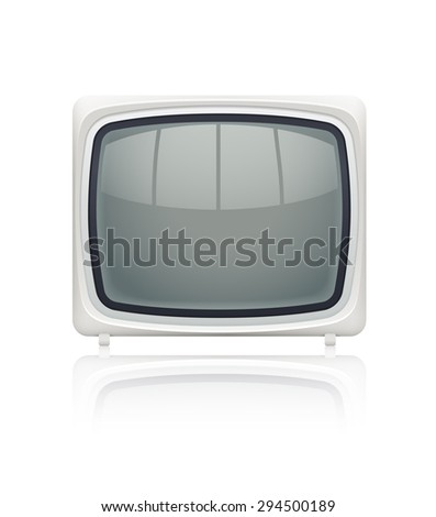 Retro display monitor for personal computer with blank screen. Eps10 vector illustration. Isolated on white background