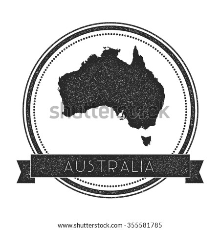 Retro distressed insignia with Australia map. Hipster round rubber stamp with country name banner, vector illustration - stock vector