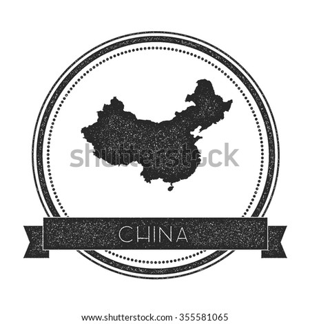 Retro distressed insignia with China map. Hipster round rubber stamp with country name banner, vector illustration - stock vector