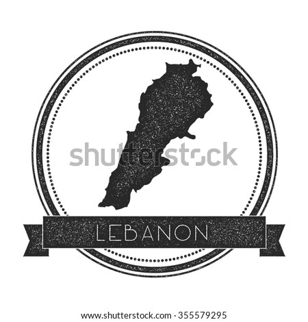 Retro distressed insignia with Lebanon map. Hipster round rubber stamp with country name banner, vector illustration - stock vector