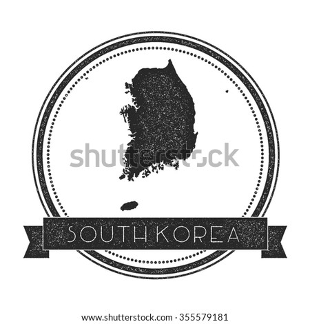 Retro distressed insignia with South Korea map. Hipster round rubber stamp with country name banner, vector illustration - stock vector