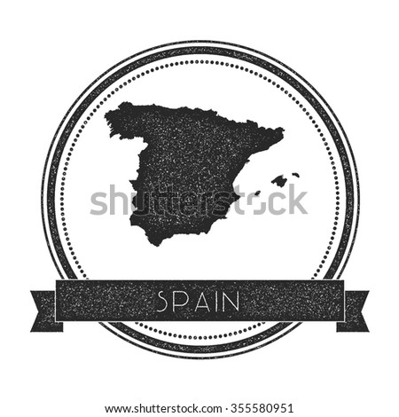 Retro distressed insignia with Spain map. Hipster round rubber stamp with country name banner, vector illustration - stock vector