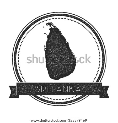 Retro distressed insignia with Sri Lanka map. Hipster round rubber stamp with country name banner, vector illustration - stock vector