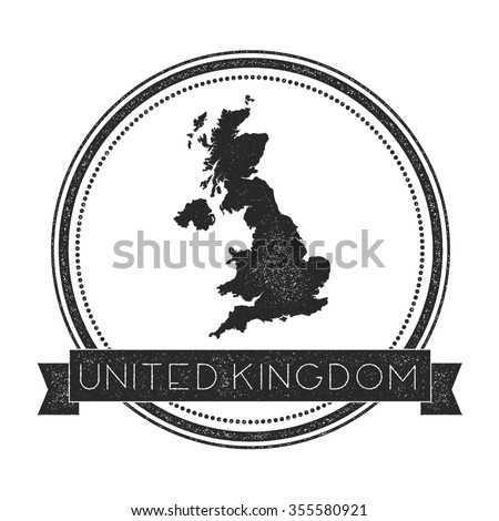 Retro distressed insignia with United Kingdom map. Hipster round rubber stamp with country name banner, vector illustration - stock vector