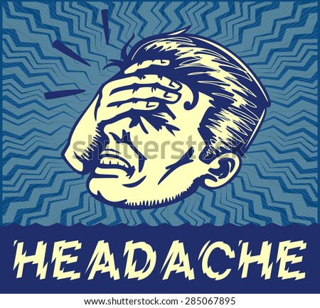 Retro dizzy man suffering from splitting headache or painful migraine holding forehead with hand, head thumping, vector clip art illustration