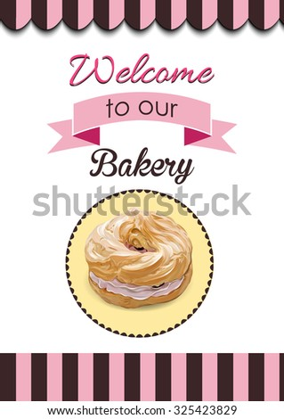 Retro Donut Poster. Promotional sign vector illustration. EPS - stock vector