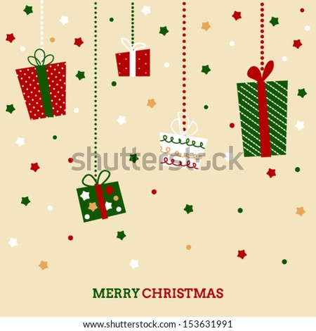 Retro doodled Christmas card with holiday gift boxes - stock vector