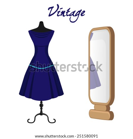 Retro dress - stock vector