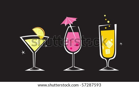 Retro drinks collection isolated on black background. Martini, Wine and Cocktail glass. Take hot summer mixed drinks! Vector illustration.