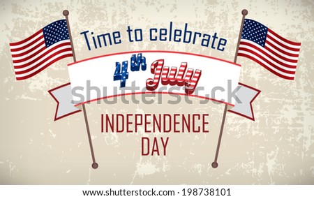 Retro Editable Banner in Colors of American Flag for Independence Day Celebration - stock vector