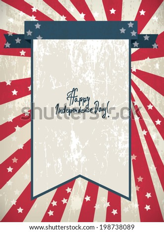 Retro Editable Greeting Card in colors of American Flag for Independence Day Celebration - stock vector