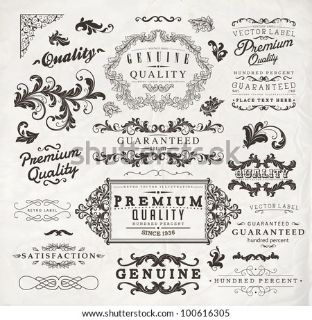 Retro elements collection for calligraphic design | Premium Quality, Satisfaction Guarantee, Genuine frames and labels set - stock vector