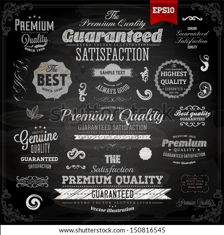 Retro elements collection for calligraphic designs | Vintage ornaments | Premium Quality labels | Guaranteed and Genuine labels | Chalkboard | eps10 vector set - stock vector