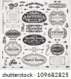 Retro elements for calligraphic designs | Vintage ornaments | Premium Quality labels | Guaranteed, Awesome and Genuine labels | Floral engraving frames and borders | Old paper texture eps10 vector set - stock vector