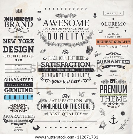 Retro elements for calligraphic designs | Vintage ornaments | Premium Quality labels | Guaranteed, Coffee and Genuine labels | eps10 vector set - stock vector