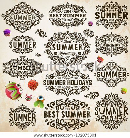 Retro Elements for Summer Calligraphic Designs. Vintage Frames and Scroll Elements. Funny Beetles - stock vector