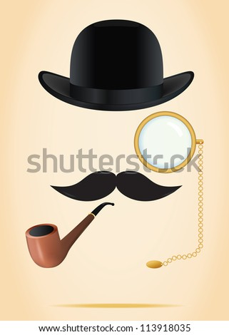Retro elements set: bowler, moustache, tobacco pipe and monocle - stock vector