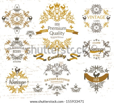 Retro elements & Vintage ornaments label - stock vector