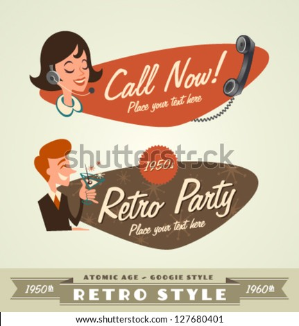 Retro emblems \ logos - stock vector