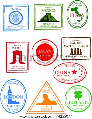 Retro European Set of Fun World Passport Stamps Vector Illustration - stock vector