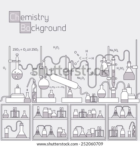 Retro experiments in a chemistry laboratory background concept. Vector illustration design. Thin lines outline design - stock vector
