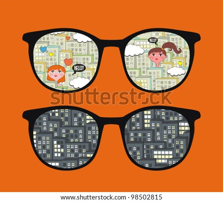 Retro eyeglasses with cityscape reflection in it. Vector illustration of accessory -  isolated sunglasses.