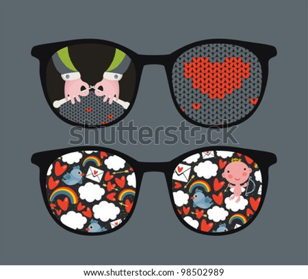 Retro eyeglasses with cute and romantic reflection in it. Vector illustration of accessory -  isolated sunglasses.