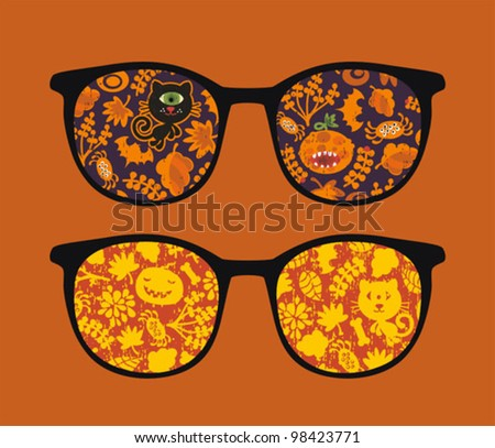 Retro eyeglasses with halloween reflection in it. Vector illustration of accessory -  isolated sunglasses.
