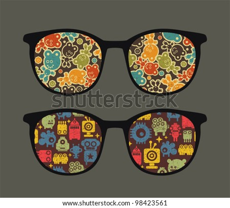 Retro eyeglasses with strange robots reflection in it. Vector illustration of accessory -  isolated sunglasses.