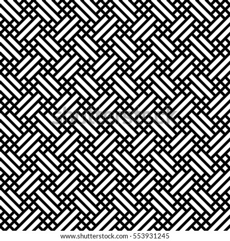 Retro fabric seamless background pattern. Simple flat geometric abstract vector illustration in black and white.