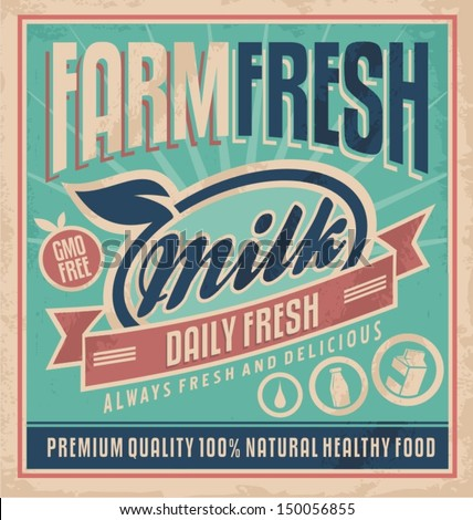 Retro farm fresh milk concept. Vector design for gmo free organic products on old paper texture. Vintage label for premium quality 100 % natural healthy food. Daily fresh milk, delivered to your home. - stock vector