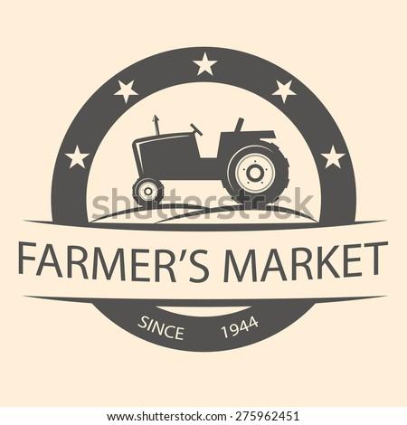 Retro farmer's market and tractor label - stock vector