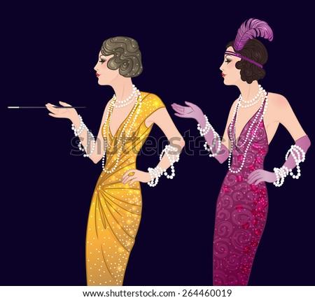 Retro fashion: Style of 1920s. Two pretty flapper girls. Vector illustration.  - stock vector