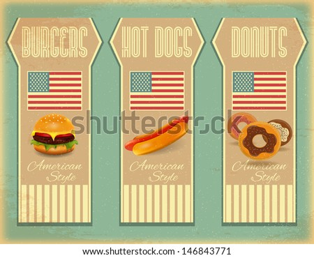 Retro Fast Food Labels, Vintage Menu - Food on  Grunge Background with American Flag - Vector Illustration. - stock vector