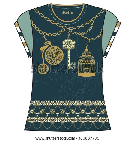 Retro female  t-shirt print design of heraldic key, bird cage, bike, chain gold and turquoise color. Fashion vintage necklace jewelry pattern grunge, steampunk, marine style  - stock vector.  - stock vector