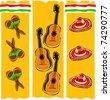 Retro Fiesta Celebration Essentials Collage Vector Illustration - stock vector