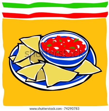 Retro Fiesta Chips and Salsa Vector Illustration - stock vector