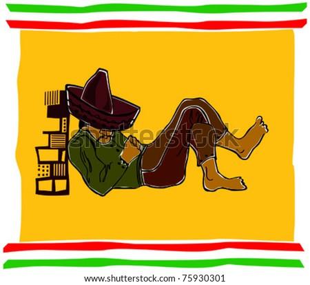 Retro Fiesta Sleeping Sombrero Man Vector Illustration - stock vector
